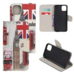 Pattern Printing Cross Texture Leather Wallet Shell for iPhone (2019) 6.1-inch – Big Ben and UK Flag