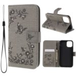 ForApple iPhone (2019) 6.1-inch Imprinted Butterfly Flowers Rhinestone Flip Wallet Leather Stand Phone Case – Grey