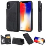 Imprinted Cat Tree Dropproof Leather Coated TPU Phone Case Cover with Card Slot for iPhone XS 5.8 inch / X – Black