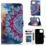 Pattern Printing Embossed Leather Protective Phone Case for iPhone (2019) 5.8-inch – Mandala Flower