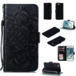 Imprint Malanda Flower Wallet Stand PU Leather Case for iPhone 8/7 4.7 inch – Black
