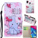 Pattern Printing Leather Wallet Case for Samsung Galaxy A20/A30 – Elephant
