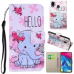 Pattern Printing Leather Wallet Stand Case for Samsung Galaxy M20 – Elephant