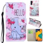Pattern Printing Leather Wallet Case for Samsung Galaxy A50 – Elephant