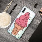 Pattern Printing Clear TPU Phone Cover Case Protector for Samsung Galaxy A70 – Pink Ice Cream
