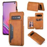 PU Leather + PC Card Holder Kickstand Phone Case Cover for Samsung Galaxy S10 Plus – Brown