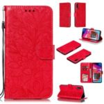 Imprinted Lace Flower Pattern Leather Wallet Stand Case for Samsung Galaxy A70 – Red
