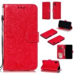 Imprinted Lace Flower Pattern Leather Wallet Stand Phone Case for Samsung Galaxy A10 – Red