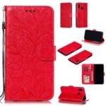 Imprint Lace Flower Leather Wallet Case for Samsung Galaxy A20/A30 – Red