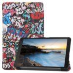 Pattern Printing Tri-fold Stand Leather Tablet Case for Samsung Galaxy Tab A 8.0 (2019) SM-T290/SM-T295 – Cartoon Graffiti