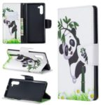 Pattern Printing Leather Wallet Phone Shell for Samsung Galaxy Note 10 – Panda Climbing Tree