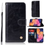 Vintage Premium PU Leather Wallet Shell with Stand for Samsung Galaxy A10e – Black