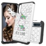 [Rhinestone Decor] Patterned PC TPU Phone Shell for Samsung Galaxy A50 – It's Cold
