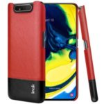 IMAK Ruiyi Series PU Leather Coated PC Case + Explosion-proof Screen Protector for Samsung Galaxy A90/A80 – Red / Black