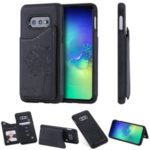 Imprinted Cat Tree Leather Coated TPU Case with Card Slot for Samsung Galaxy S10e – Black