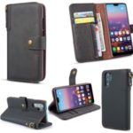 Vintage Leather Wallet Phone Flip Cover with Strap for Samsung Galaxy Note 10 Pro – Black