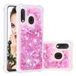 Liquid Glitter Powder Patterned Quicksand Shockproof TPU Back Casing for Samsung Galaxy A20e/A10e – Pink Love Hearts