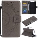 Imprint Flower Leather Wallet Case for Samsung Galaxy A80/A90 – Grey