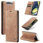 CASEME 013 Series Auto-absorbed Business Leather Wallet Stand Phone Shell for Samsung Galaxy A80/A90 – Light Brown