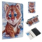 Marble Series Pattern Auto Wake & Sleep Leather Wallet Phone Cover for Samsung Galaxy Tab A 8.0 (2019) P200 / P205 – Tiger
