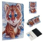 Pattern Printing Magnetic Leather Wallet Case for Samsung Galaxy Tab A 10.1 (2019) – Tiger