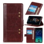 Rivet Decorated Crazy Horse Leather Wallet Stand Case for Sony Xperia 20 – Brown