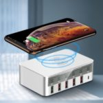 Intelligent Multi-port USB Quick Charger Wireless Charger Smart Plug Wireless USB-C + QC3.0 + PD (Support FOD Function) – US Plug