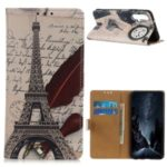Pattern Printing Leather Wallet Case for Huawei nova 5 Pro / nova 5 – Eiffel Tower and Characters