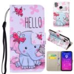 Pattern Printing Wallet Stand Flip Leather Case for Huawei Y9 (2019) / Enjoy 9 Plus – Cute Elephant