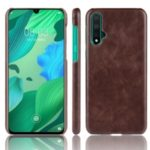 Litchi Texture PU Leather Coated PC Shell for Huawei nova 5/nova 5 Pro – Brown
