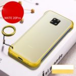 Side Frameless Matte Grain PC + TPU Hybrid Phone Shell with Finger Ring Lanyard for Huawei Mate 20 Pro – Yellow