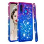 Diamond Decor Gradient Glitter Powder Quicksand TPU Shell with Finger Ring Buckle for Huawei P30 Lite / nova 4e – Rose / Blue