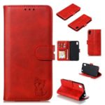 Imprinted Cat Pattern Style Leather Wallet Case for Huawei Y5 (2019) / Honor 8S – Red