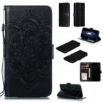 Imprint Mandala Flower Leather Wallet Stand Case for Huawei Honor 20 – Black
