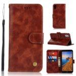 Premium Vintage Leather Wallet Case for Xiaomi Redmi 7A – Wine Red