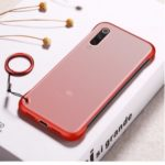 Side Frameless Matte Grain PC + TPU Hybrid Phone Cover with Finger Ring Lanyard for Xiaomi Mi 9 SE – Red
