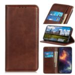 Auto-absorbed Split Leather Phone Cover for Xiaomi Mi CC9 – Dark Brown