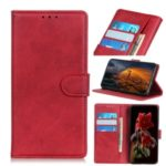 Matte PU Leather Wallet Stand Protective Phone Case for Xiaomi Mi CC9 – Red