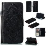 Imprint Mandala Flower Leather Wallet Case for Xiaomi Redmi K20 / Mi 9T / Redmi K20 Pro / Mi 9T Pro – Black