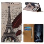 Pattern Printing Wallet PU Leather Phone Shell for Xiaomi Mi CC9 – Eiffel Tower and Characters