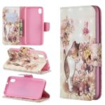 Pattern Printing Light Spot Decor Leather Wallet Stand Case for Xiaomi Redmi 7A – Cat and Flowers