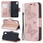 Imprint Butterfly Wallet Stand PU Leather Phone Case for Xiaomi Redmi 7A – Rose Gold