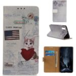 Pattern Printing PU Leather Wallet Phone Case for Xiaomi Mi CC9e/Mi A3 – Cat Holding Heart