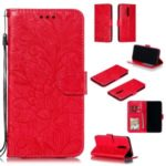 Imprinted Lace Flower Texture Leather Wallet Stand Casing Shell for Xiaomi Redmi K20 / Mi 9T / K20 Pro / Mi 9T Pro – Red