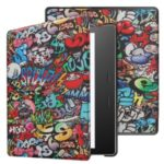 Pattern Printing Stand Leather Tablet Protective Case for Amazon Kindle Oasis (2019) – Cartoon Graffiti