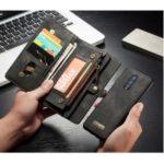 CASEME 008 Series 2-in-1 Multi-slot Wallet Vintage Split Leather Phone Casing for OnePlus 7 Pro – Black