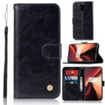Vintage Premium PU Leather Wallet Shell with Stand for OnePlus 7 – Black