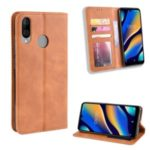 Vintage Style Leather Wallet Shell Casing Cover for Wiko View 3 Lite – Brown