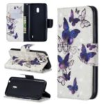 Pattern Printing Light Spot Decor Leather Wallet Stand Case for Nokia 2.2 – Beautiful Butterfly