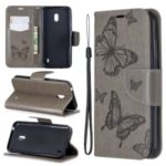 Imprint Butterfly Wallet Stand PU Leather Phone Case for Nokia 2.2 – Grey